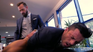 andy star gets fucked in his suit on his desk