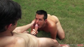 cuban guy on his knees gulping this big cock