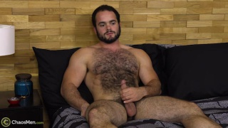 bearded furball strokes his cock in first JO video