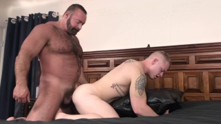 beefy hairy daddy pummels a blond guy's ass