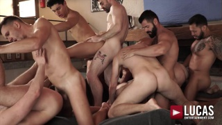 11 men sucking & fucking in bareback orgy