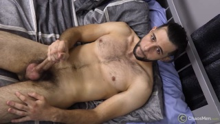 furry guy with a man bun jacks off in his first video