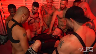 8 tops fucking one man in a sling