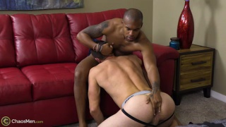 short black guy with nine-inch cock fucks beefy guy's ass