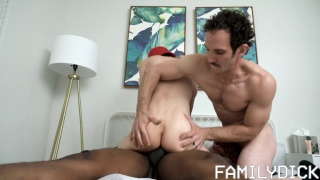 man helps his stepson take this black dick deep in his ass