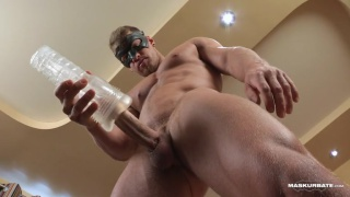 blond muscle hunk fleshjacking his cock