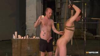 slave boy has a cage around his twink cock