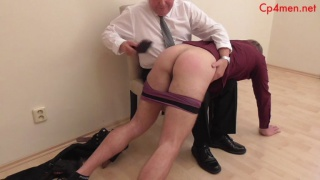 blond guy gets beefy assed spanked with hair brush