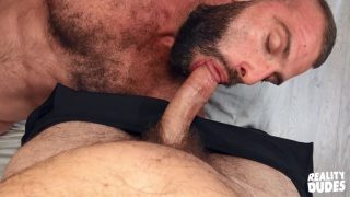 hairy bearded yoga man convinced to suck dick