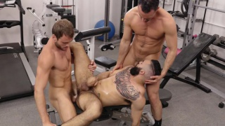 three gym hunks take a fuck break during their workout