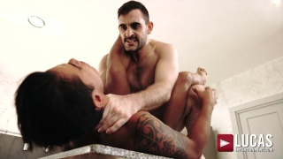 nasty top choke his bottom while fucking him