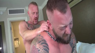 ginger daddy & inked cub flip-fucking in hotel suite