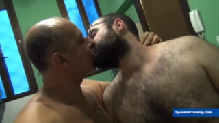 two hairy spanish tops use a bottom's ass & mouth