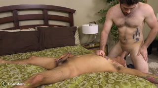 bearded stud face fucks a cocksucker over edge of bed