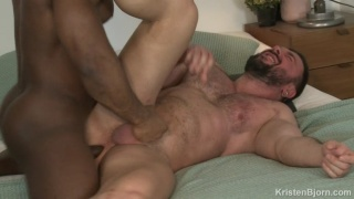 bearded hunk gets his ass porked by a dark brazilian top