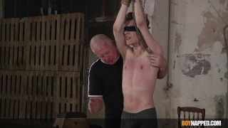 master blindfolds slim slave boy & beats his smooth body