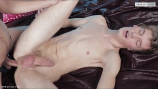 jock enjoys rimming this twink's hole so much that he fucks it
