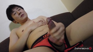 Japanese Lad Pulls His Cock Out of His Sexy Underwear