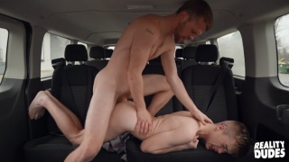 Hung Ginger Stud Fucks Guy in Backseat of SUV
