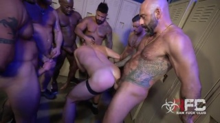 Six Horny Men Bare Fucks a Bald Bottom