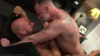 Muscled Bottom Boy Fucks Bald Daddy
