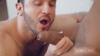 Latin Bottom Services Muscled Black Stud's Thick Cock