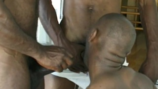Black thug gay three way fuck