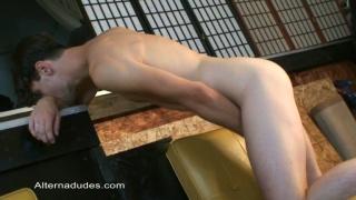 Surfer stud shows his naked flesh
