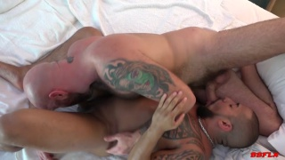 inked muscle daddies 69 suck before fucking