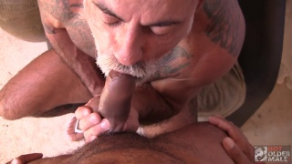 daddy with goatee chokes on a nice dick