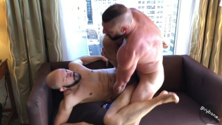 Barebacked bald stud cums