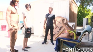 three guys find a guy tied up in his backyard