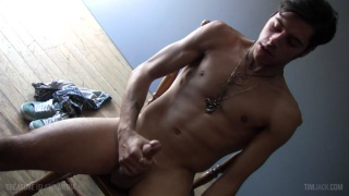 straight guy strokes his thick shaft