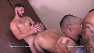 inked latin bottom gets a big dick in each hole