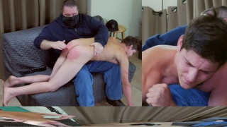 straight guy gets angry during his spanking