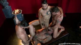 four hairy men gang banging