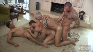 daddy sucks cock while getting fucked by a guy also getting fucked