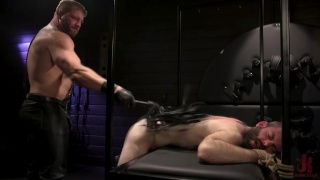 stressed out guy visits this beefy daddy who beats it out of him