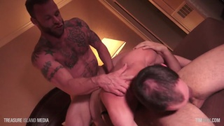 inked man fucks the guy topping in 69 position