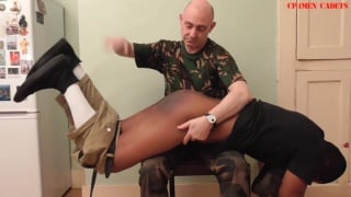 cadet went awol and gets 12 swats with sir's leather paddle