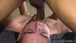 bearded guy getting throat fucked on bottom of 69 session