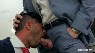 ginger executive fucks co-worker over boardroom table