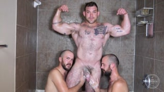identical twinks gets naked with a hairy hunk
