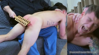 guy gets his beautiful ass spanked with hair brush