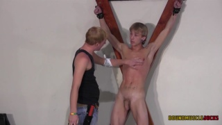 master takes pleasure in hitting his slave boy