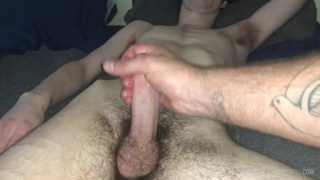 stroking off a sleeping skinny man with a large boner
