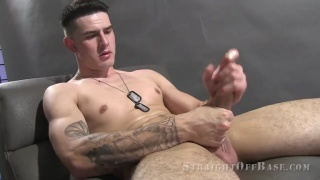 cute marine with big nuts strokes his large dick