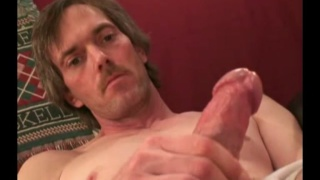 scruffy redneck strokes his small cock