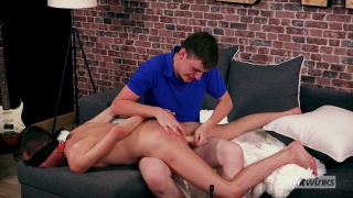 blindfolded french twink gets fucked with a ball gag in his mouth