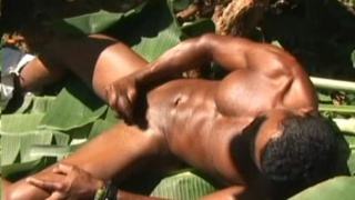 Latin hunk stroking in the forest
